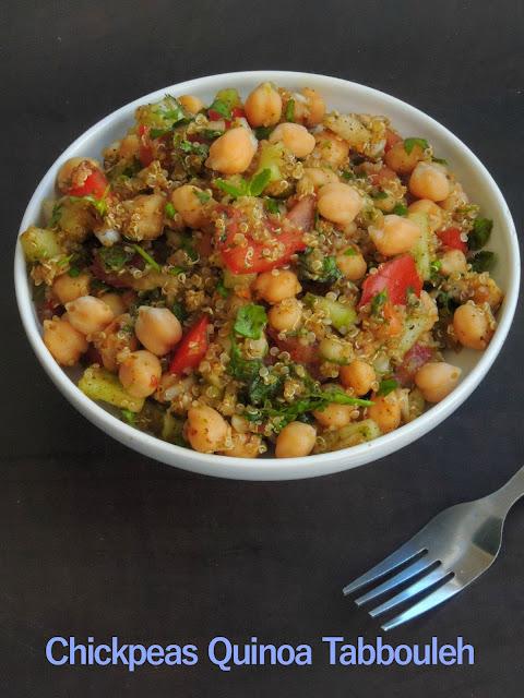 Vegan Chickpeas Quinoa Tabbouleh, Chickpeas Tabbouleh