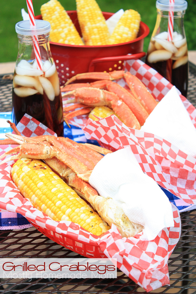 Grilled Crab legs with grilled corn cookout recipe