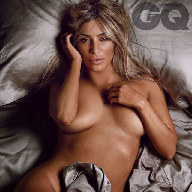 Kim Kardashian naked in bed for GQ