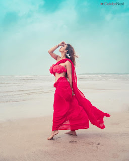 Neha Malik in Red Saree Amazing Beauty Stunning Red   .xyz Exclusive 006.jpg