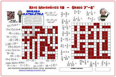 Retos matemáticos, Desafíos matemáticos, Problemas matemáticos, Cruzadas, Cruzapalabras, Palabras Cruzadas, Cruza-Palabras