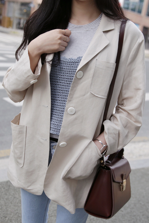 Narrow Notched Three-Pocket Jacket