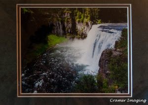 Cramer Imaging's photograph of one of our award-winning waterfall photos matted in a green or blending tone mat Like