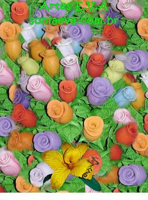 Flores coloridas em E.V.A