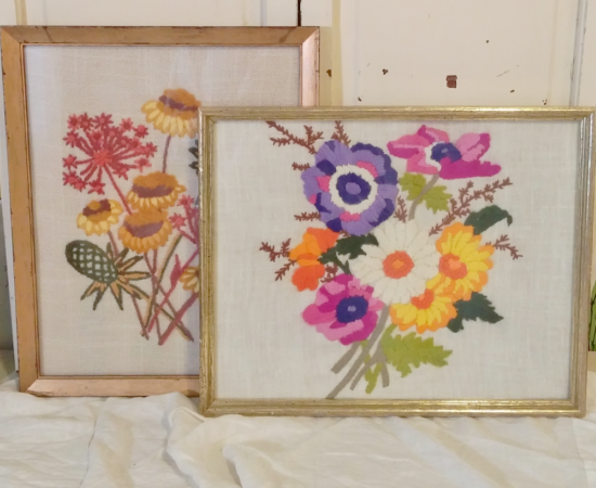 vintage embroidered flowers