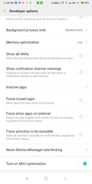 Akibat Mematikan MIUI Optimization di Redmi Note 5 - LULUSAN KOMPUTER