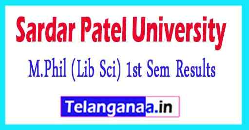 Sardar Patel University M.Phil (Lib Sci) 1st Sem  Exam Results