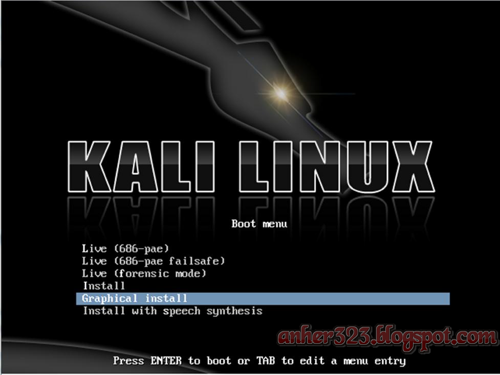 Booting Kali Linux and Select Graphical Install