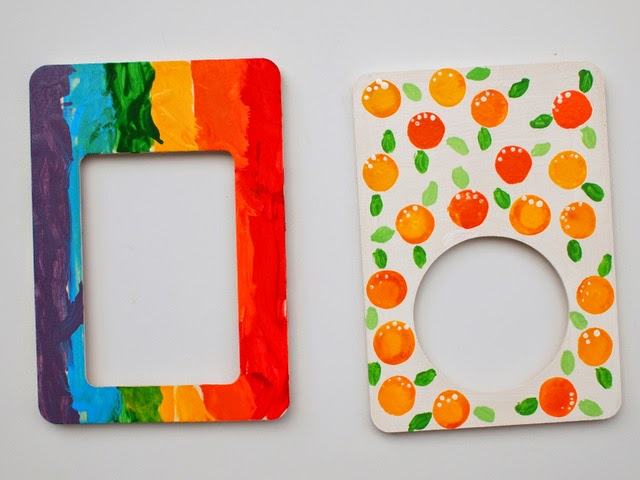 paint rainbow frame and orange frame- kids craft