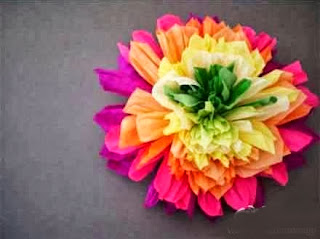 Contoh Kerajinan Tangan, Kreasi Bunga Kertas Pelangi 7
