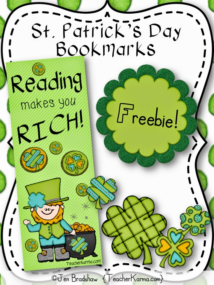 Reading Makes you Rich!!!  FREE St. Patrick's Day bookmarks.  TeacherKarma.com