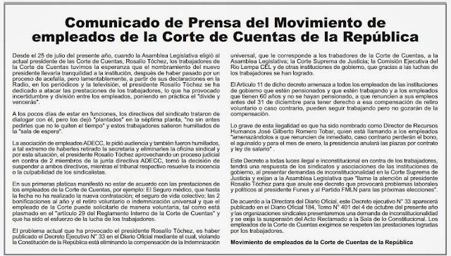 Movimiento de empleados de la Corte  Cuentas  de la República  (Por: Auditor)