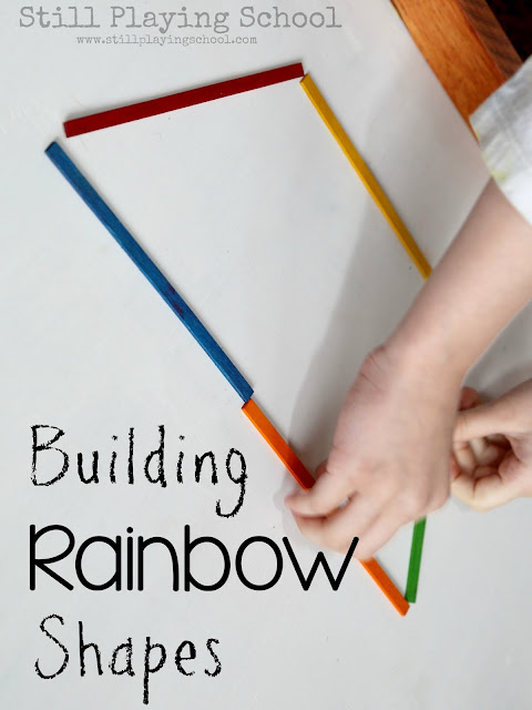 Kids can build shapes with colorful sticks! A great hands on math lesson!