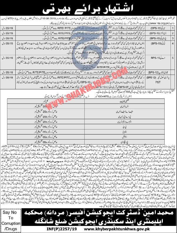 Directorate Of Elementary & Secondary Education KPK District Shangla Through NTS Jobs for Male 2019