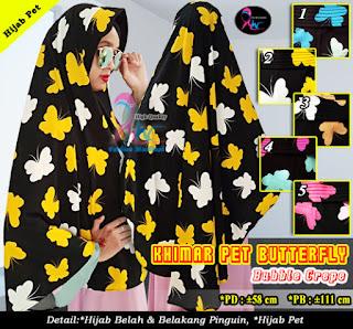 Khimar pet bubble crepe motif butterfly model pinguin
