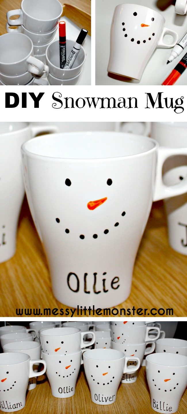 How to make a personalised DIY snowman mug.  DIY mugs are easy to make and a great gift idea.  Follow these simple instructions.