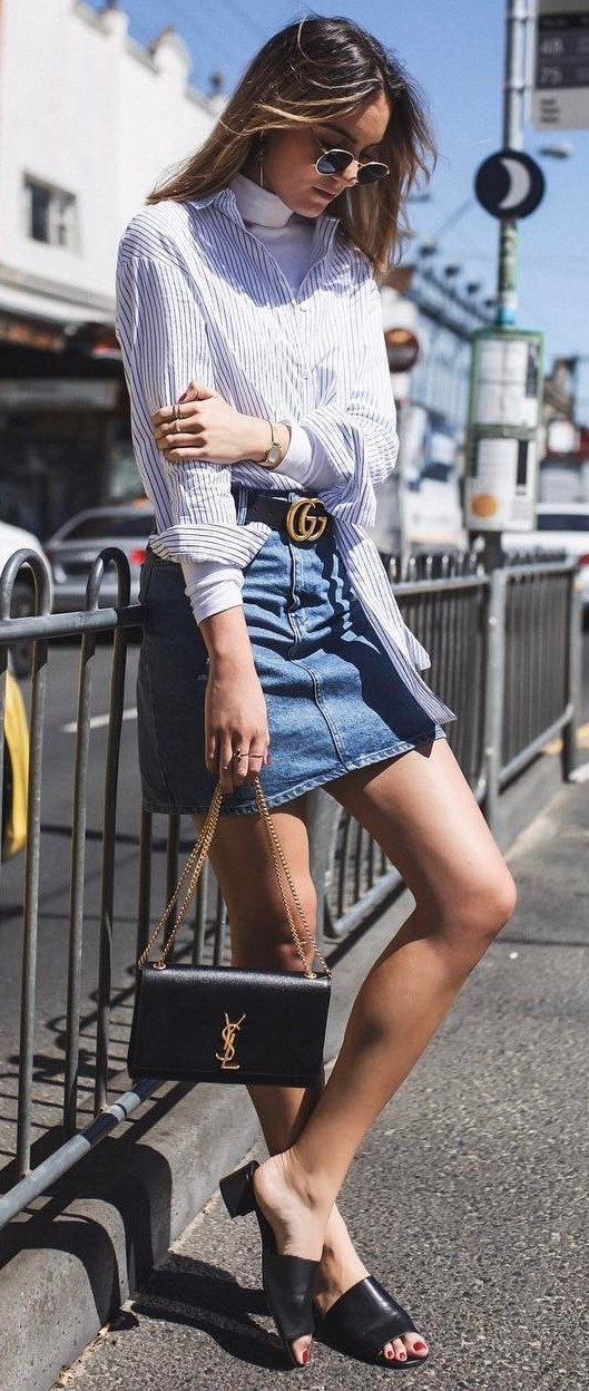 street style addiction: shirt + skirt + bag