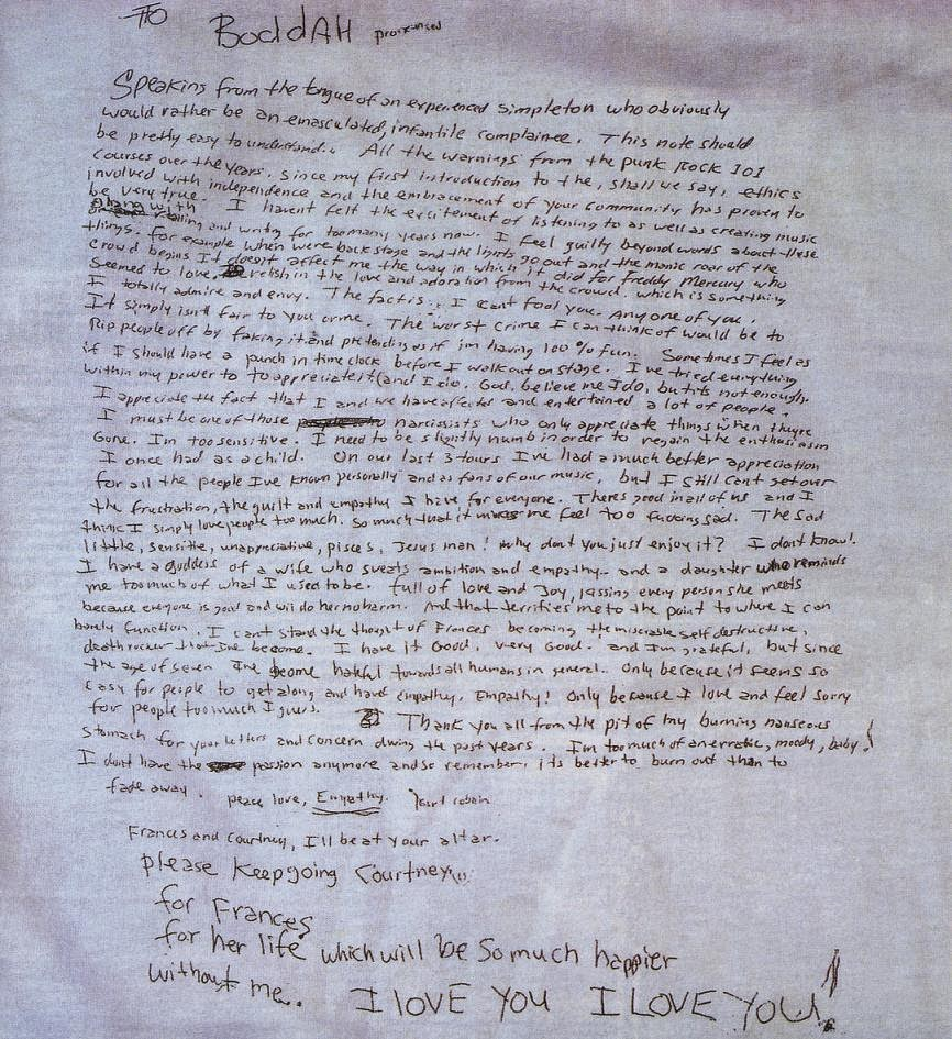 Nirvana Kurt Cobain suicide note Courtney Love Francis Bean April 5th 1994