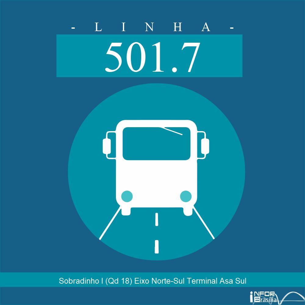 Horário de ônibus e itinerário 501.7 - Sobradinho I (Qd 18) Eixo Norte-Sul Terminal Asa Sul