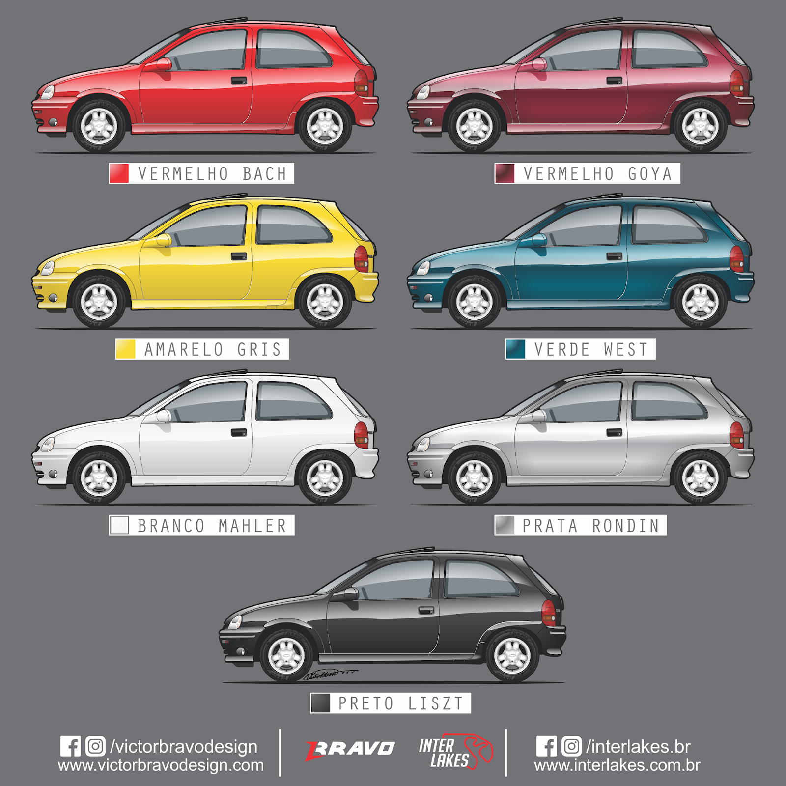 Infográfico mostrando o desenho do Chevrolet Corsa GSi com suas cores