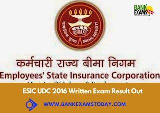 ESIC UDC 2016 Written Exam Result Out