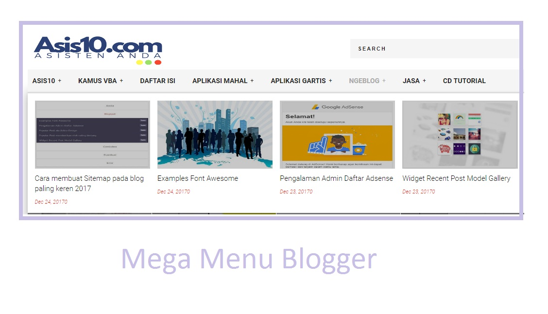 Make a mega menu blogspot