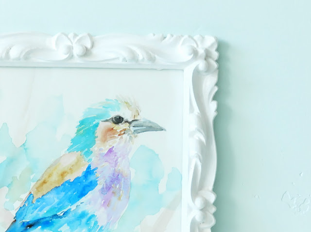 watercolor bird in thrifted white frame