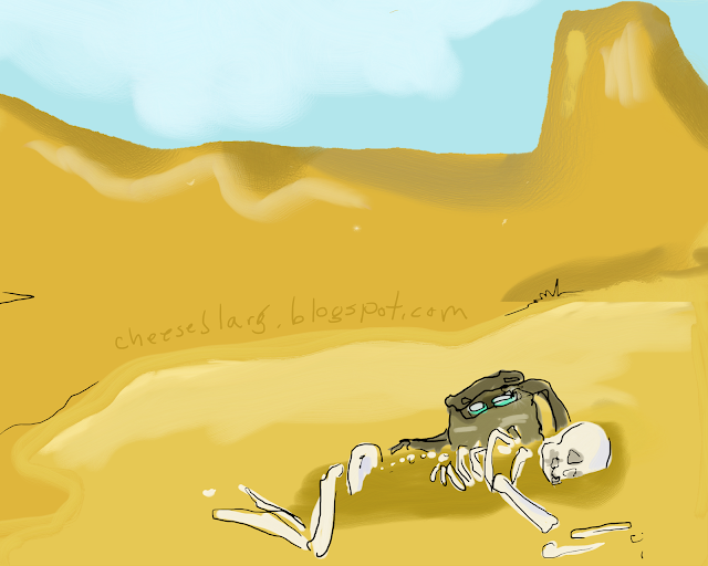 Desert scene shows close up of skeleton and backpack, that has cans inside.