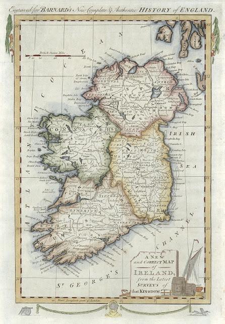 Mapa de Irlanda para la Historia de Inglaterra escrita por Edward Barnard en 1781 (La historia con mapas)
