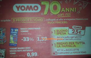 Logo Concorso ''Yomo 70 anni'': vinci buoni spesa e kit biciclette per la famiglia