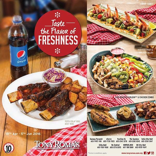 Tony Roma's Malaysia - Taste the Flavor of Freshness New Menu