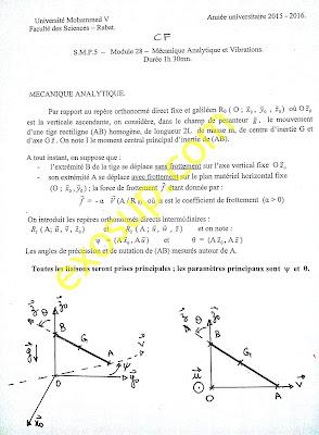 contrôles corrigés Mécanique Analytique et Vibrations smp s5 FSR