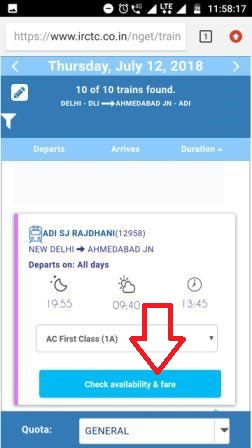 Picture of IRCTC seat availability on mobile phone