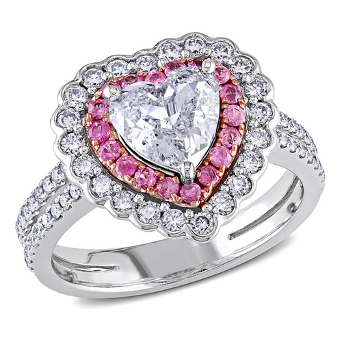 Miadora 14k White Gold Pink Sapphire and 1 1/2ct TDW Diamond Ring (H-I, SI1-SI2)bling,diamond,fashion,jewelry,pink,ring,silver,style
