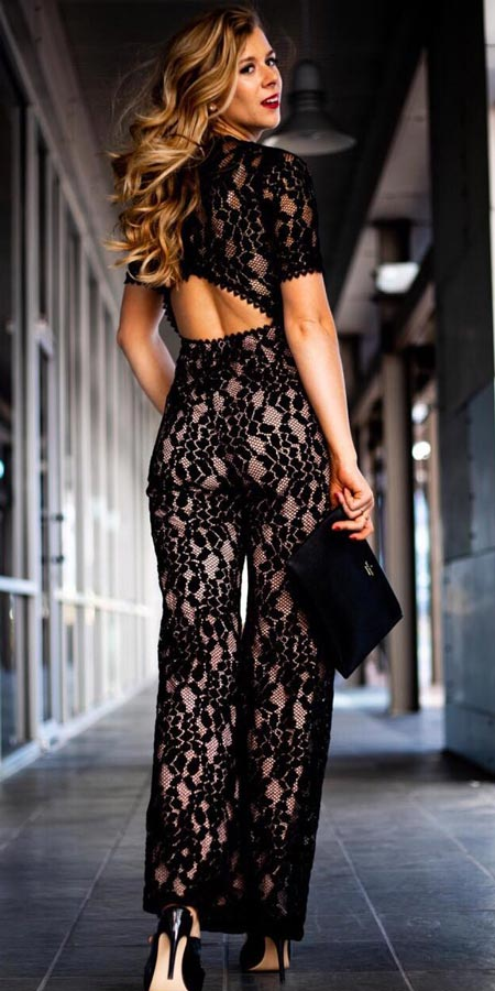 Lace halter jumpsuit | Looking for new year outfits ideas? Discover these 35+ New years outfits and new year clothes which are perfect as winter party outfits. party outfits ideas via higiggle.com outfit new year | party outfit night #fashion #style #outfits #party