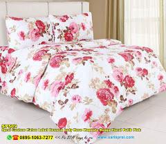 Sprei Custom Katun Lokal Dewasa Lady Rose Magenta Bunga Floral Putih Pink
