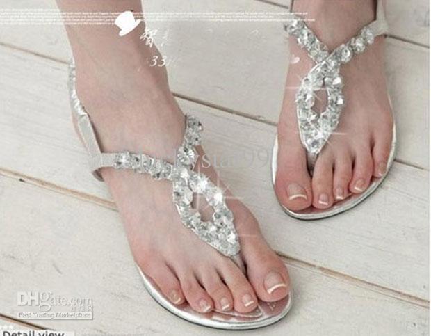 Flat Wedding Sandals With Rhinestones