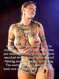 Sulamitka Abishag przygotowuje się do rozgrzewania zgrzybiałego króla Dawida