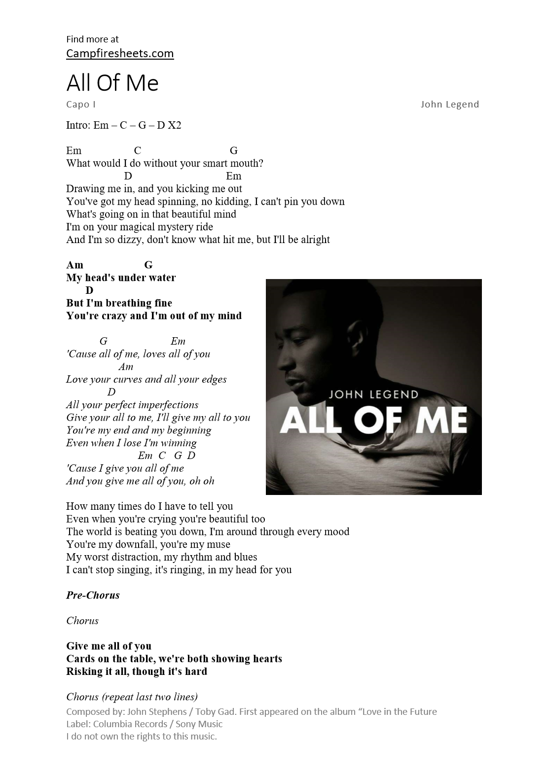 All of me john legend 1 page sheet music chords and lyrics hexwebz Images