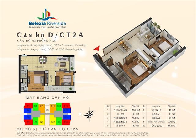 Căn hộ D - 2 phòng ngủ tòa CT2A chung cư Gelexia Riverside