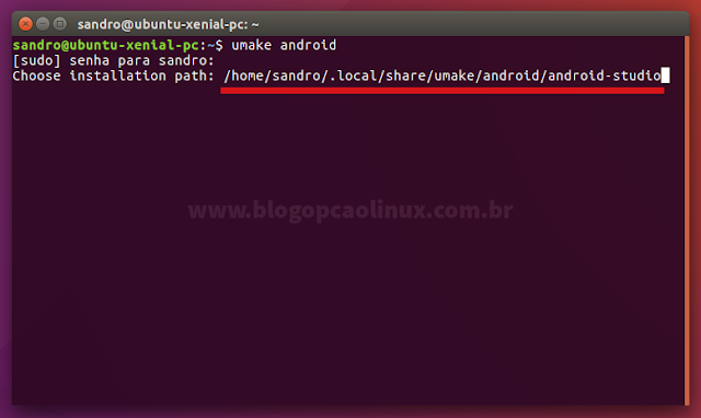 Instalando o Android Studio através do Ubuntu Make