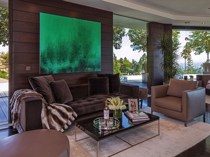 Brown furniture in Perfect modern mansion in Beverly Hills
