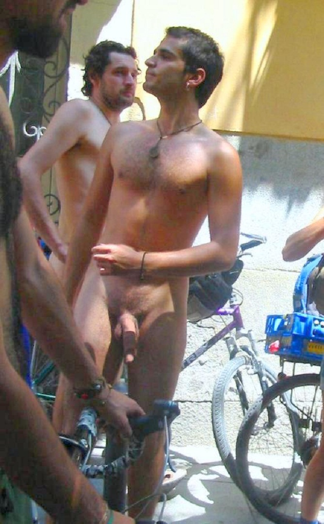 Guy riding fat cock in public