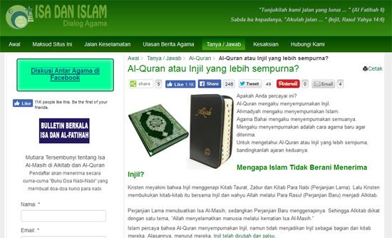 Awas Laman Web Isa Dan Islam Menyesatkan