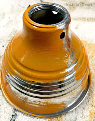 Painting a metal lampshade orange