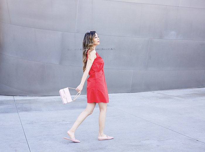 Everlane clean cotton v neck dress, red cotton dress, chanel classic flap bag, pink point slides, san francisco fashion blog, san francisco street style