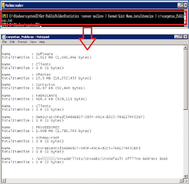 Get-PublicFolderStatics -server NOMBRE_SERVIDOR | fl Name,TotalItemsSize > c:\carpetas_Publicas.txt