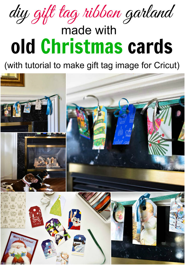 DIY Gift Tag Ribbon Garland Made With Old Christmas Cards, with tutorial to make gift tag image for free in Cricut Design Space
