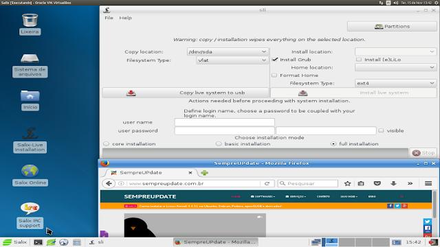 Salix Xfce 14.2 Live Edition sendo executado em uma máquina virtual