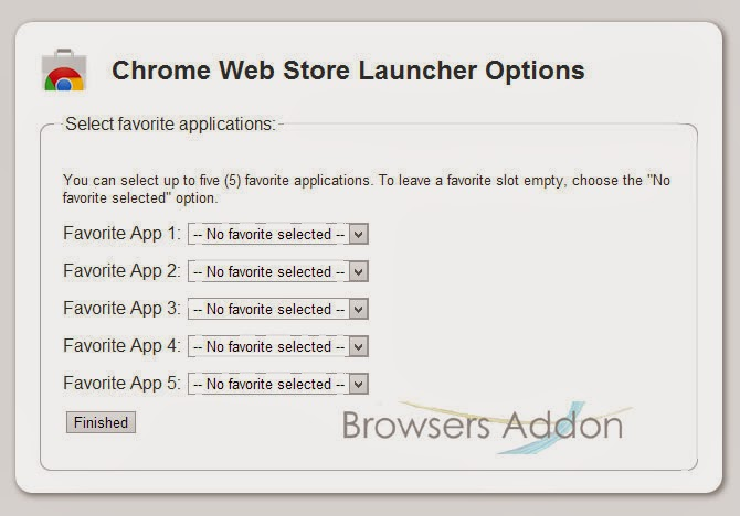 Chrome Web Store Launcher selecting favorite application